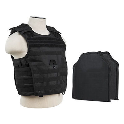 Tactical Body Armor MOLLE Expert Plate Carrier Vest With IIIA Ballistic Panels - Black (Will Stop A 454 Casull & 44 Magnum Point Blank Range)