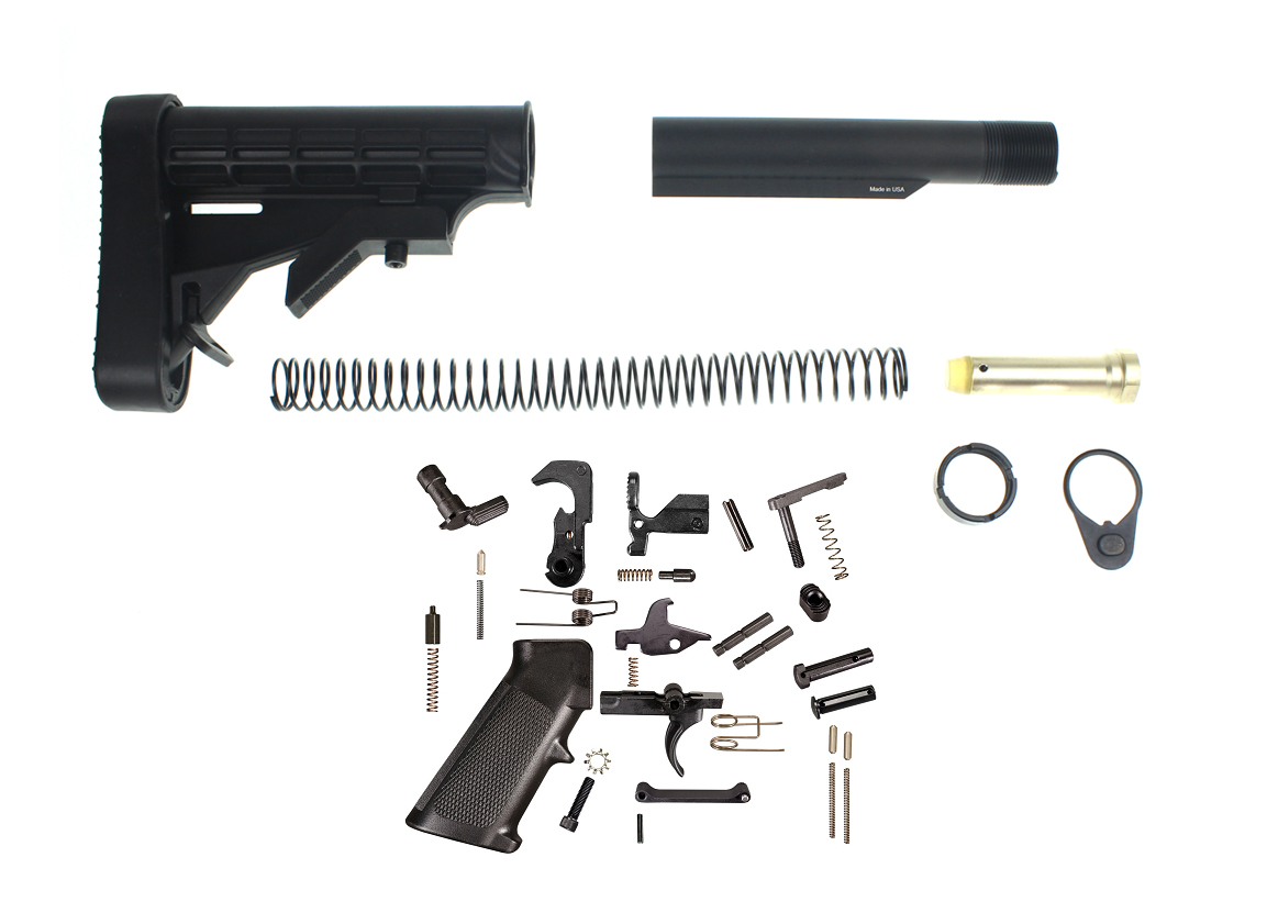 Trinity Force L-E Mil-Spec Stock Buffer Tube Kit With Recoil Pad & Full Lower Parts Kit - Complete AR-15 Lower Setup