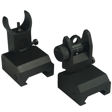Omega Premium Flip Up Sight Set - Fits All Picatinny Rails and Flattops