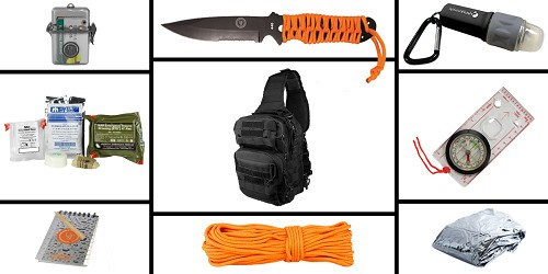 Custom Deal Preparedness Pack Featuring: VISM Shoulder Sling Utility Bag - Black, First Aid Kit, Knife, Light, Outdoor Skills Pocket Reference Guides, Waterproof Note Pad, Emergency Space Poncho, Compass, and 50' of Paracord