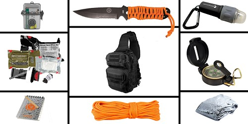 Custom Deal Preparedness Pack Featuring: VISM Shoulder Sling Utility Bag -Black , First Aid Kit, Knife, Light, Outdoor Skills Pocket Reference Guides, Waterproof Note Pad, Emergency Space Poncho, Compass, and 50' of Paracord
