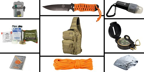 Custom Deal Preparedness Pack Featuring: VISM Shoulder Sling Utility Bag -Urban Gray , First Aid Kit, Knife, Light, Outdoor Skills Pocket Reference Guides, Waterproof Note Pad, Emergency Space Poncho, Compass, and 50' of Paracord