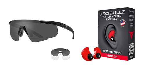 Custom Deals Shooter Safety Packs Featuring Decibullz Custom Molded Earplugs - Red + Wiley X Saber Safety Glasses - Black