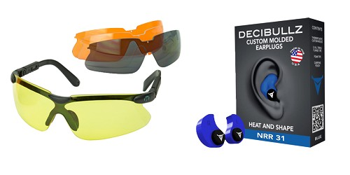 Custom Deal Shooter Safety Packs Featuring Decibullz Custom Molded Earplugs - Blue + Walker's, Glasses, Smoke Gray, Amber, Yellow, and Clear Lens Kit Included, 1 Pair