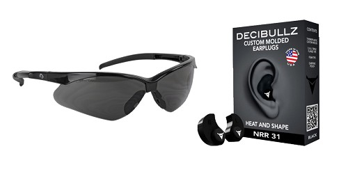 Custom Deal Shooter Safety Packs Featuring Decibullz Custom Molded Earplugs - Black + Walker's, Crosshair, Shooting Glasses, Polycarbonate Lens, Smoke