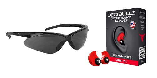 Custom Deal Shooter Safety Packs Featuring Decibullz Custom Molded Earplugs - Red + Walker's, Crosshair, Shooting Glasses, Polycarbonate Lens, Smoke