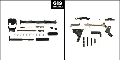 Custom Deal DIY Pistol Kit G19 Alpha One Outdoors Glock Frame Kit with Billet Trigger, Extended Mag Release, And Extended Slide Lock + Alpha One Glock 19 Slide Completion Kit