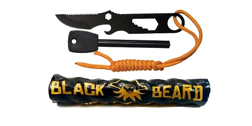 Custom Deal Black Beard Fire Starter + Ultimate Survival Technologies, Paraknife 2.0 FS, Black Oxide Finish, 1.5
