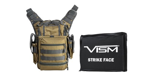 Custom Deal VISM First Responders Utility Bag - Tan w/Urban Gray + VISM Ballistic Soft Panel - 6