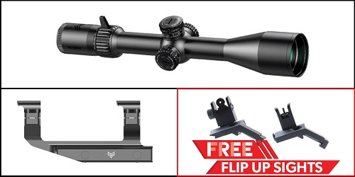 Custom Deal Swampfox Optics Independence Mount 30MM + Patriot FFP Precision Riflescope Series 4 + FREE Omega Mfg Inc 45 Degree Offset Flip Up Sight Set