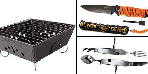 Tactical Gift Box Portable Folding Barbecue Grill + Black Beard Fire Starters + UST Para Knife FS + SE 7 in 1 Stainless Steel Multi-Function Camping Tool