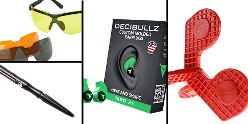 Tactical Gift Box Timber Creek Outdoors 'Jax' Self-Healing Rimfire and Pistol Target + Walker's, Glasses, and Clear Lens Kit + Decibullz Custom Molded Earplugs - Green + Tactical Pen