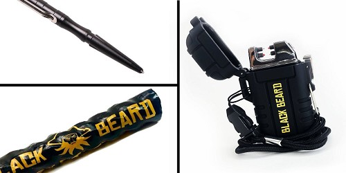 Custom Deal Black Beard Fire Starter + Black Beard Arc Lighter + Tactical Pen Stainless Steel